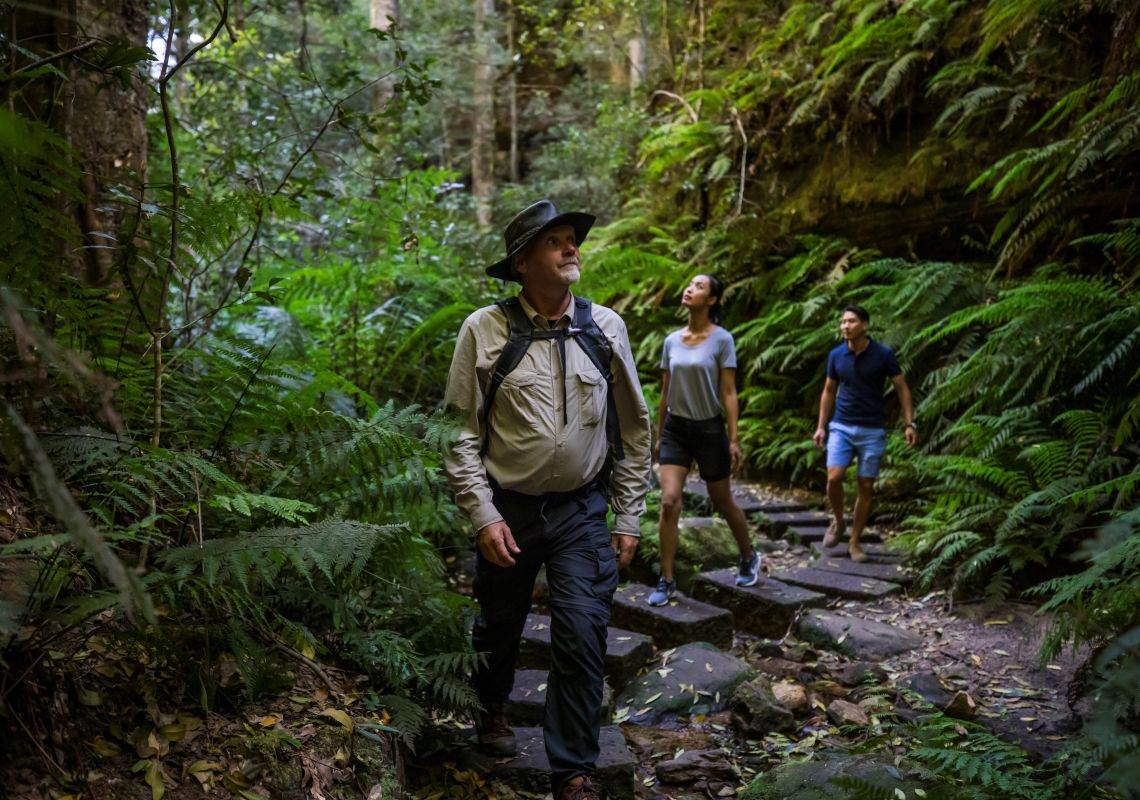 Couple enjoying a guided walk along the Grand Canyon Walking track in the Blue Mountains with Tread Lightly Eco Tours.