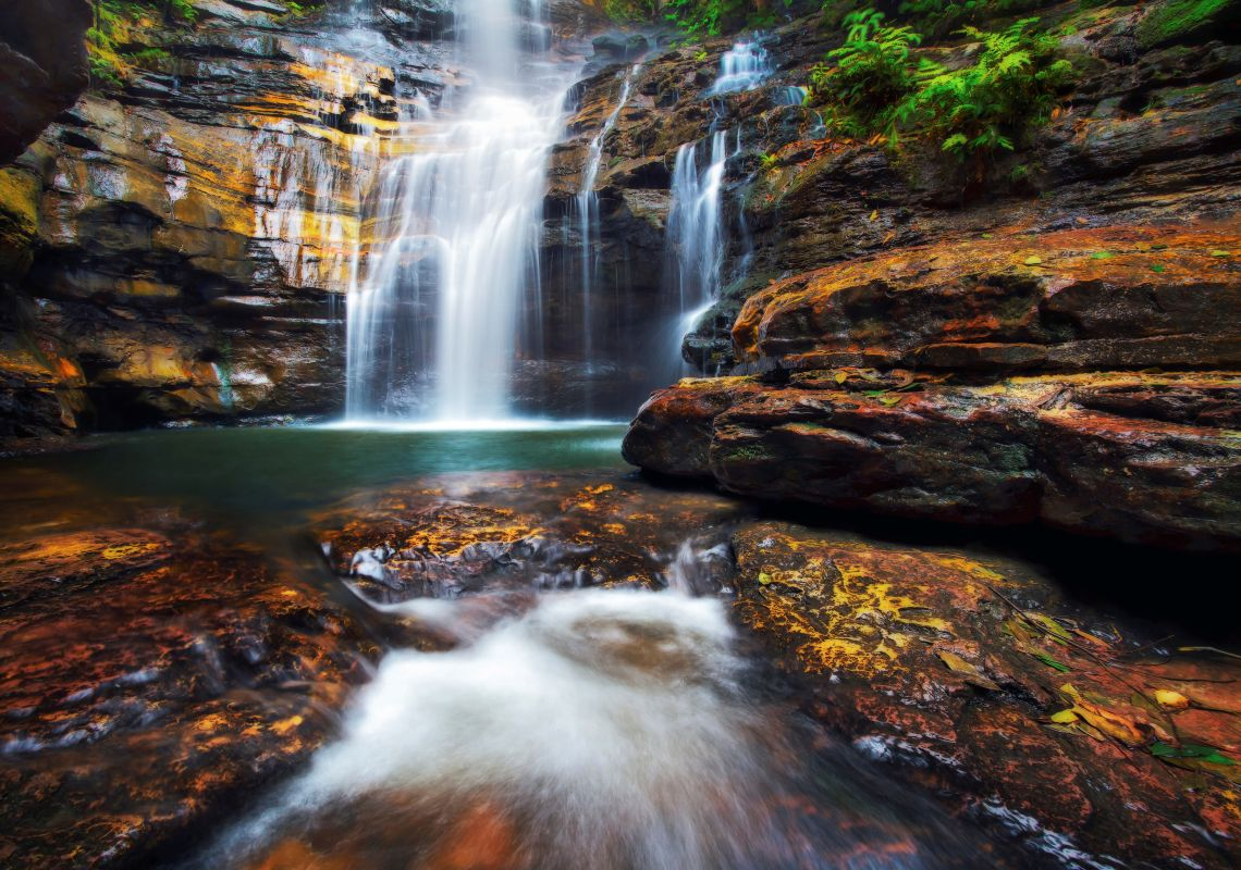 Water flowing down Empress Falls in the Blue Mountains National Park