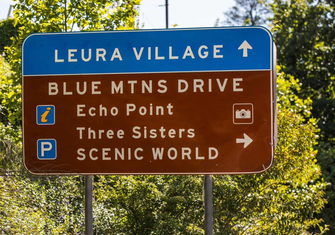 Tourist road signs near Leura, Katoomba Area in the Blue Mountains