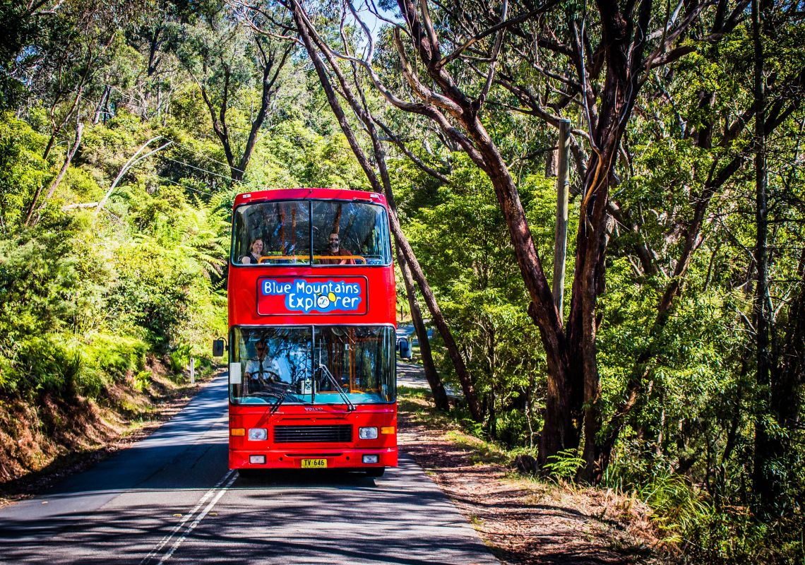Double decker red bus, Blue Mountains Explorer Bus in Katoomba, Blue Mountains