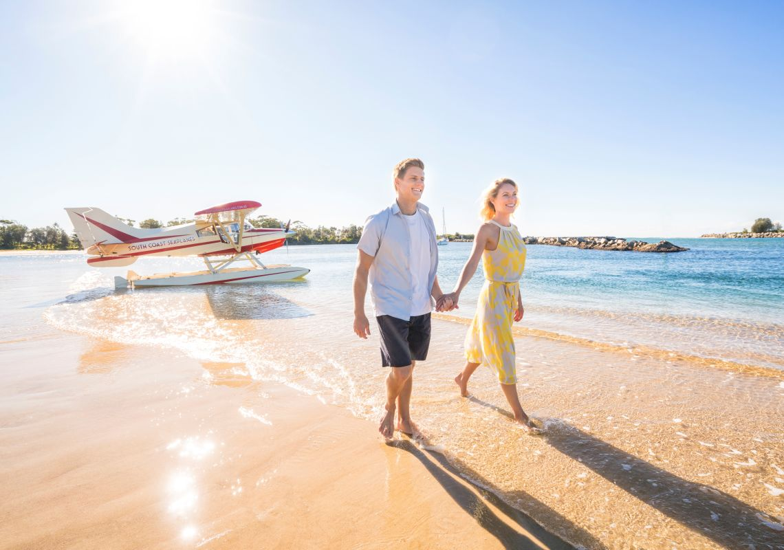Couple arriving at Moruya Lake with South Coast Seaplanes in Moruya, Batemans Bay