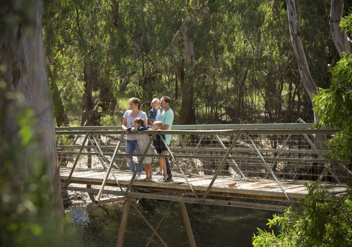 Family enjoying the natural sights located on the 16-hectare Island Sanctuary, Deniliquin in the Murray
