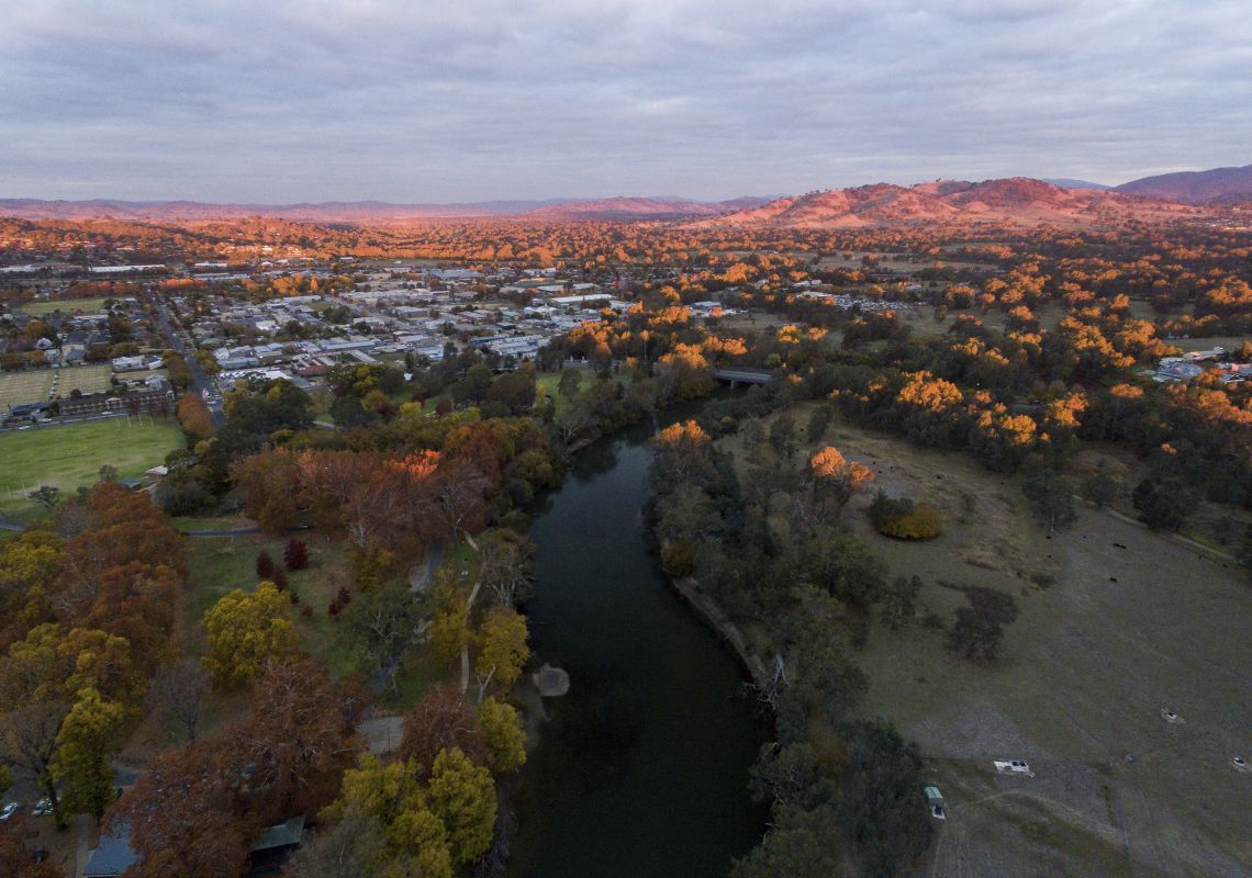 Scenic aerial overlooking the Murray River passing through the city of Albury, The Murray