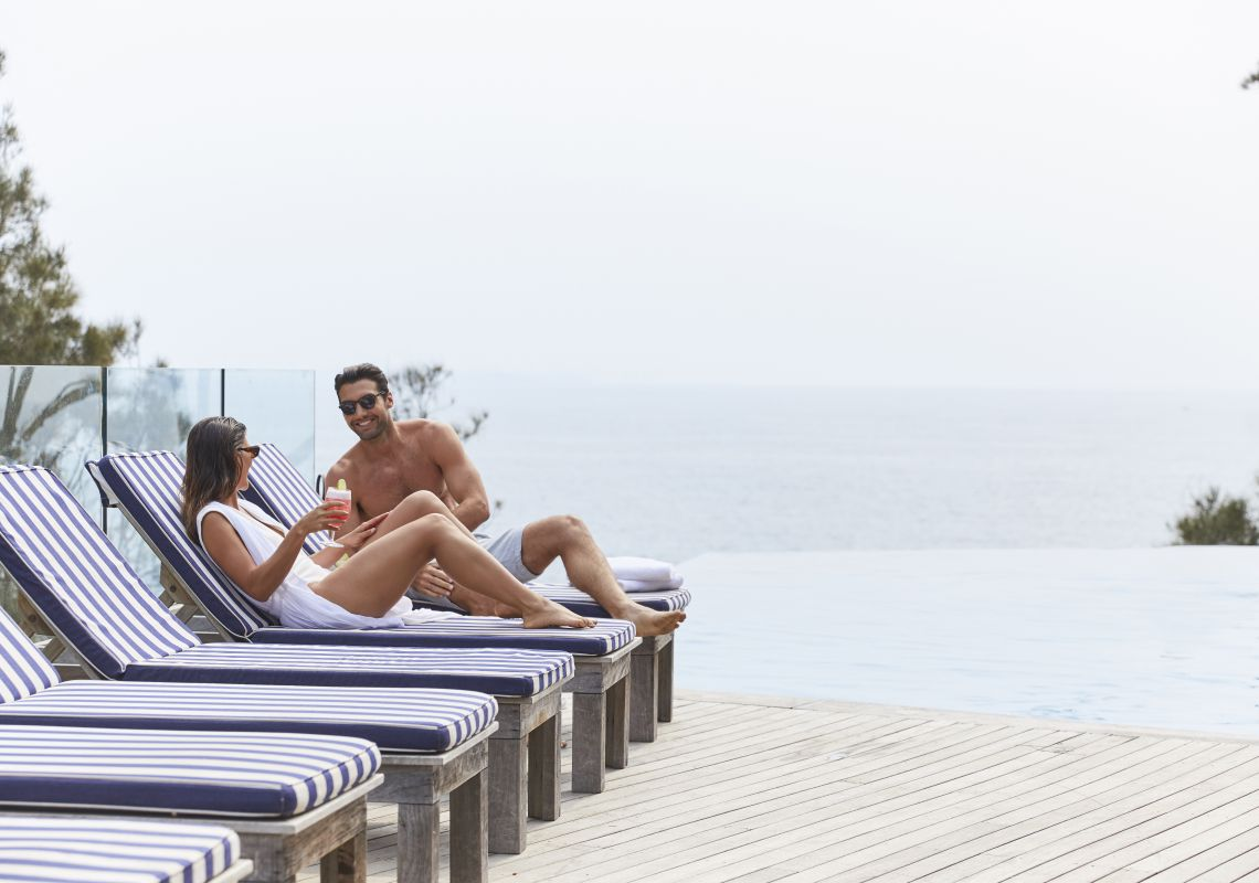 Couple enjoying a romantic getaway at Bannisters by the Sea in Mollymook Beach, Jervis Bay & Shoalhaven