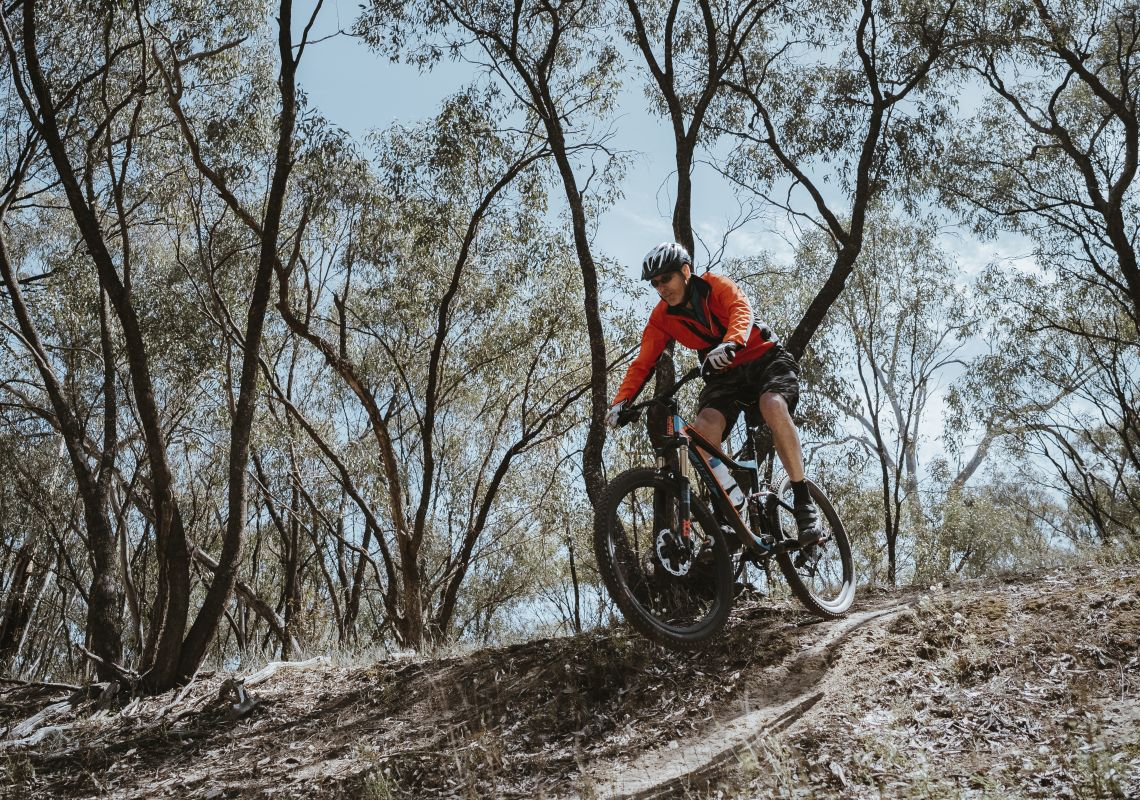 Man exploring the Deniliquin mountain bike trails within Murray Valley Regional Park