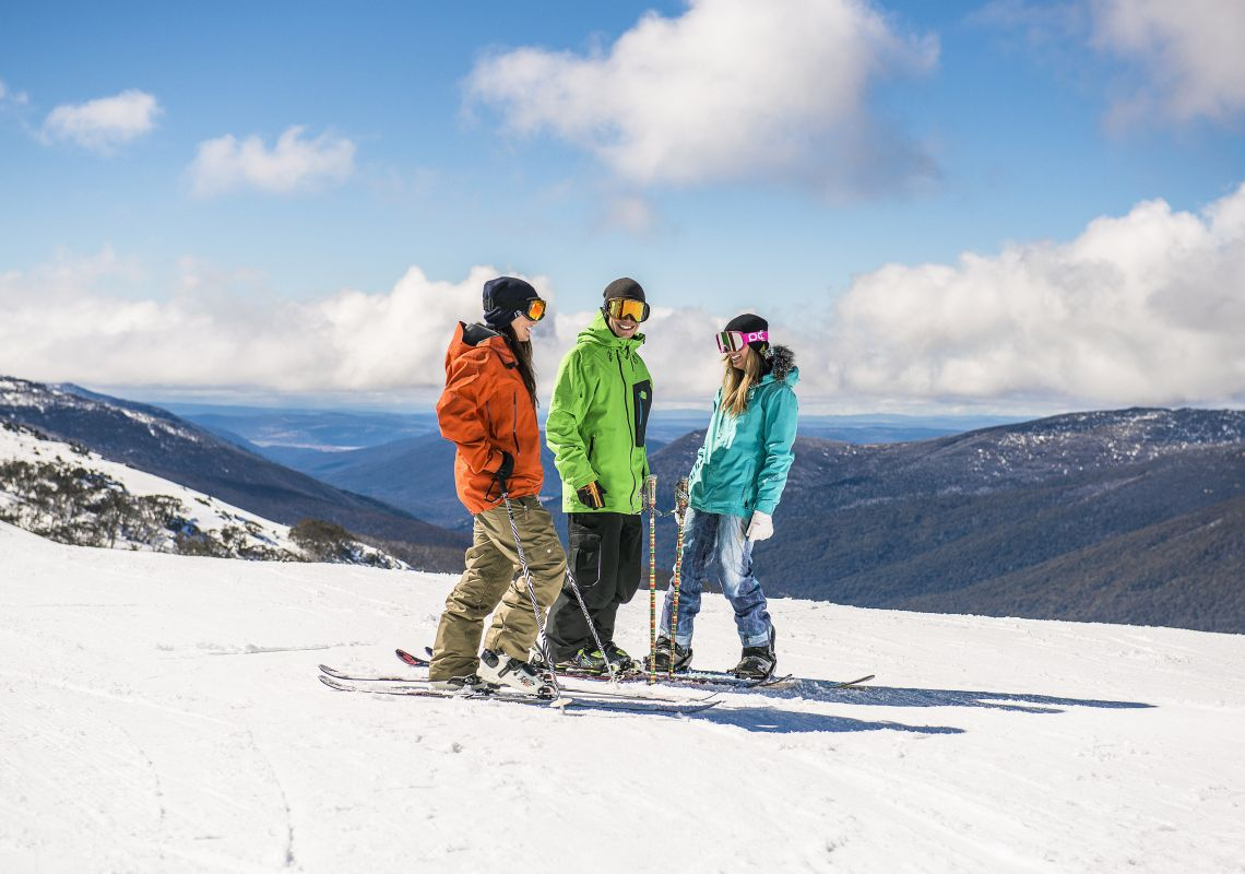 Friends skiing at Thredbo in the Snowy Mountains