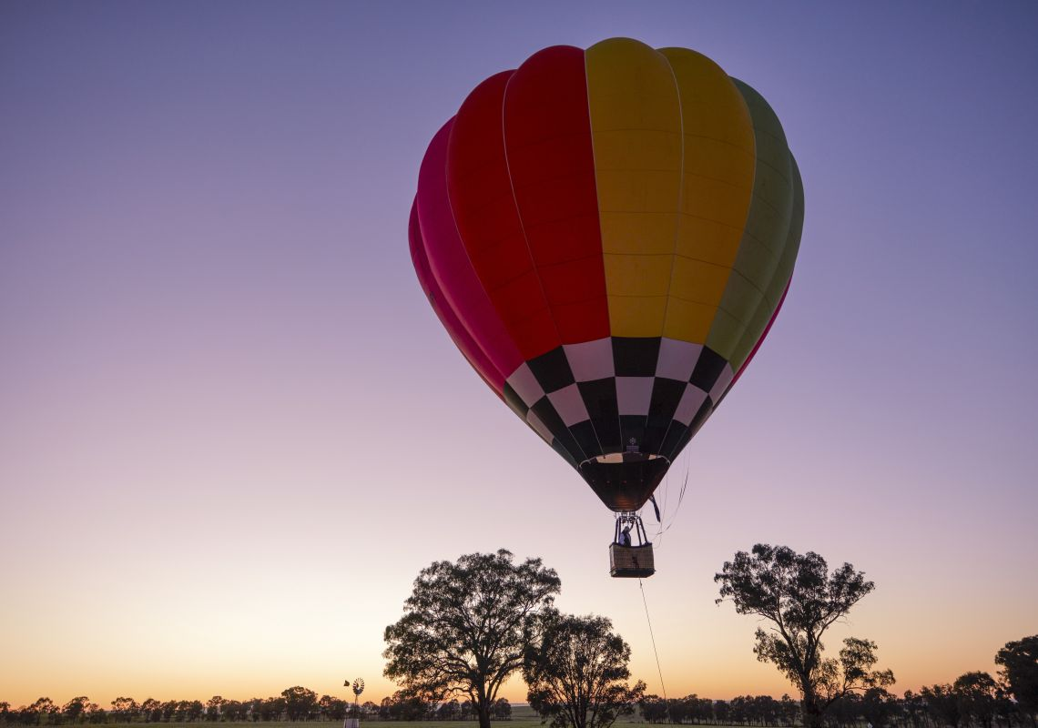 A Balloon Joy Flight hot air balloon readying for a morning flight over Canowindra.