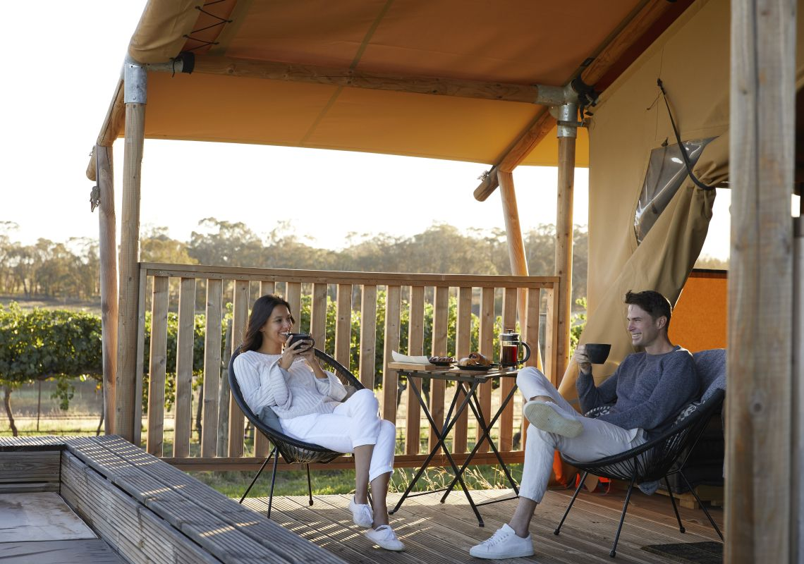 Couple enjoying a glamping experience at Nashdale Lane Wines in Nashdale, Orange Area, Country NSW