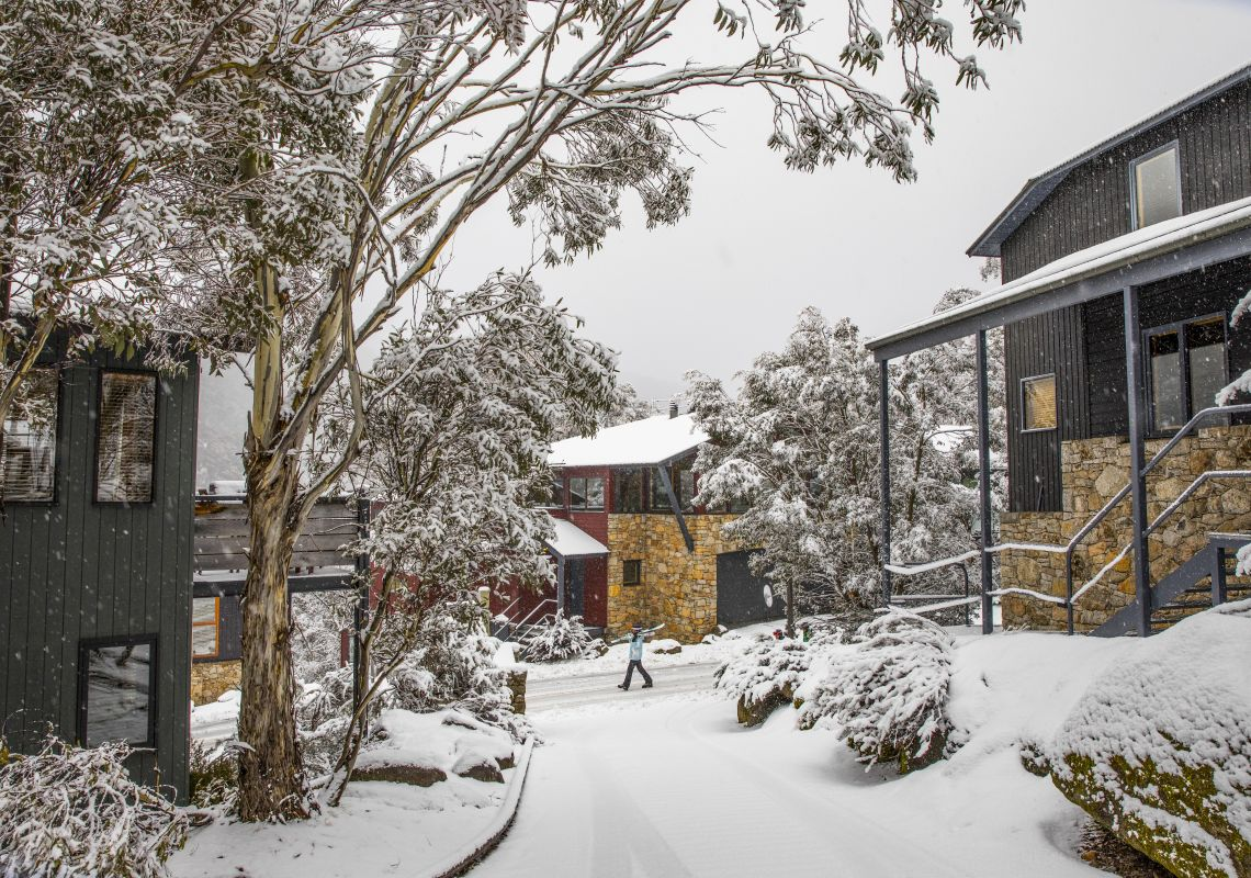 Snow covering the landscape in Thredbo, Snowy Mountains