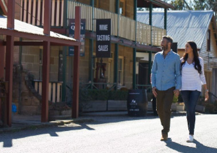 Couple exploring local towns in the Hunter Valley