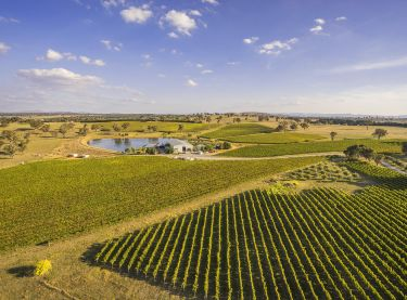 Aerial view over Long Rail Gully Wines - Murrumbateman