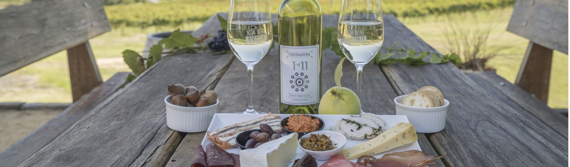 A cheese platter and pinot gris at Courabyra Wines, Tumbarumba