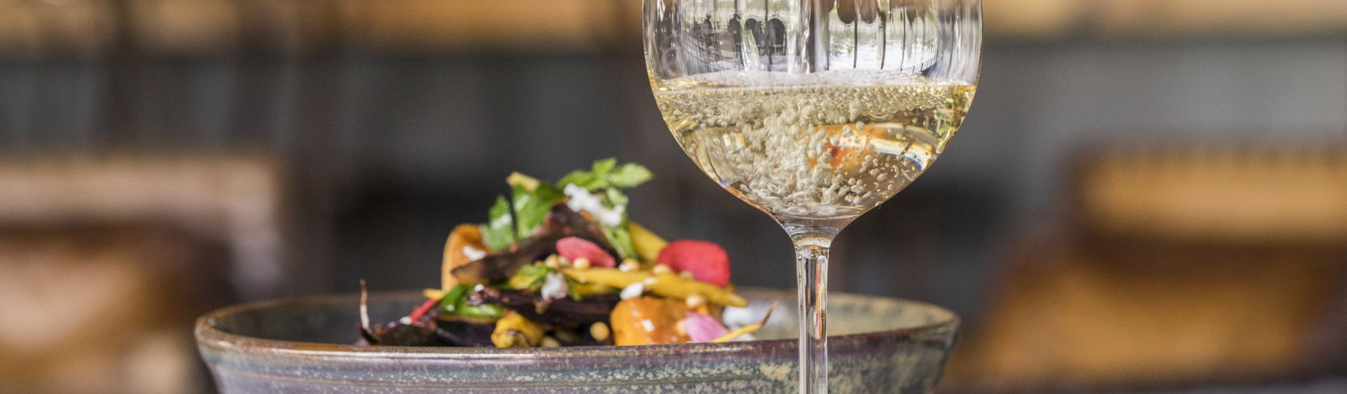 Salad and wine available at Bendooley Estate in Berrima