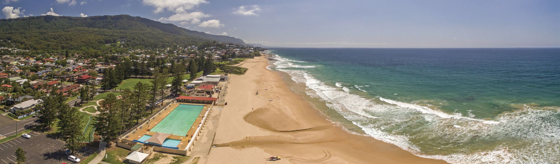 Sweeping aerial view of Thirroul Beach, north of Wollongong