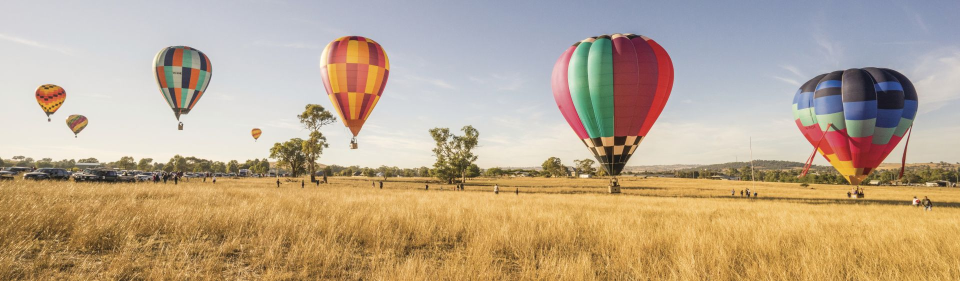 Hot air balloons flying over central NSW in the Canowindra International Balloon Challenge