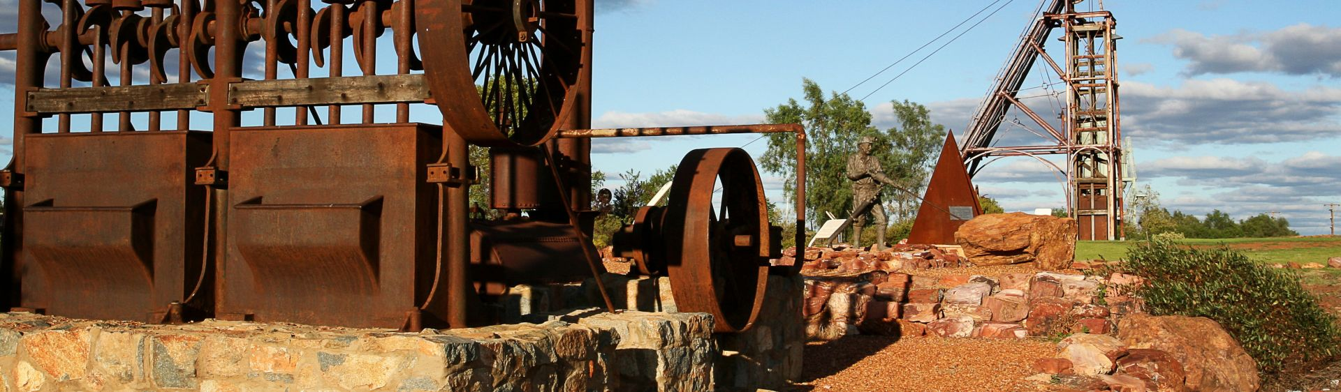 Sculptures at the Cobar Miners Memorial, Outback