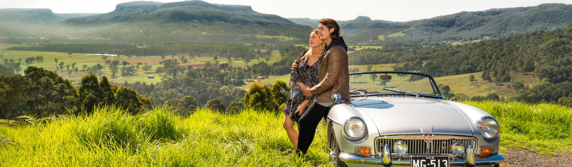 Couple admiring view during inland drive through Shoalhaven region