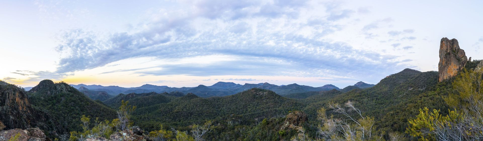 Scenic views across Warrumbungle National Park, NSW