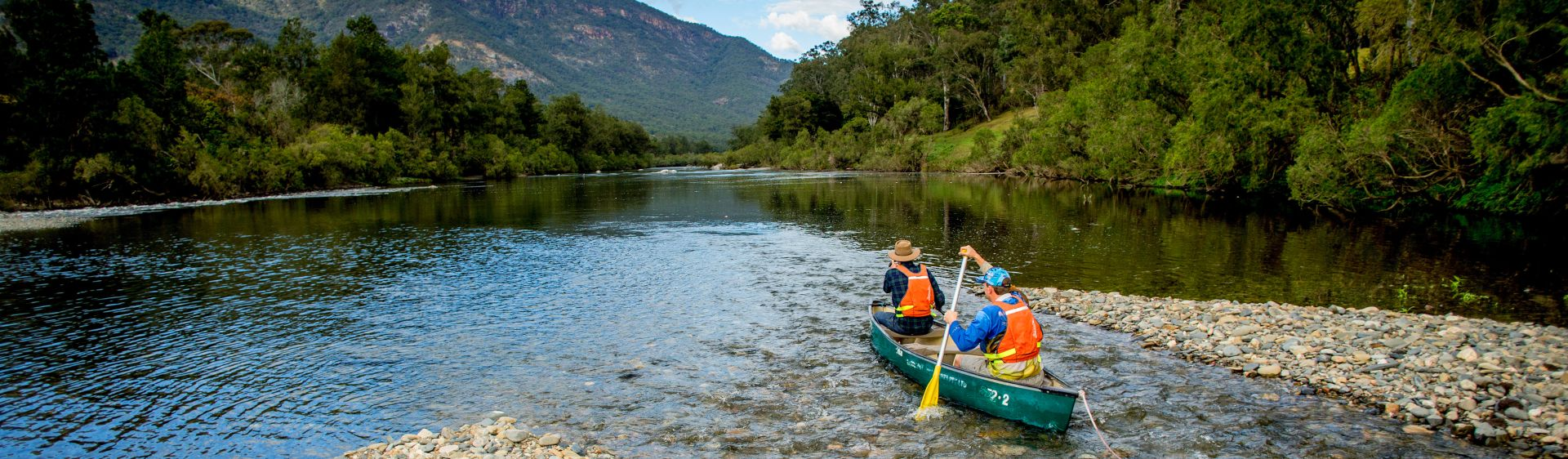 Canoeists exploring the Macleay River in Bellbrook, Macleay Valley Coast