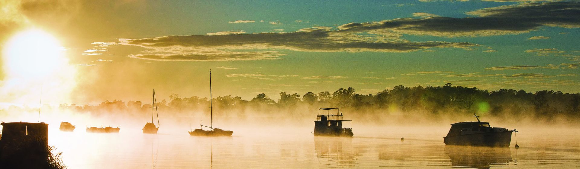 Morning mist on the Clarence River estuary, Yamba