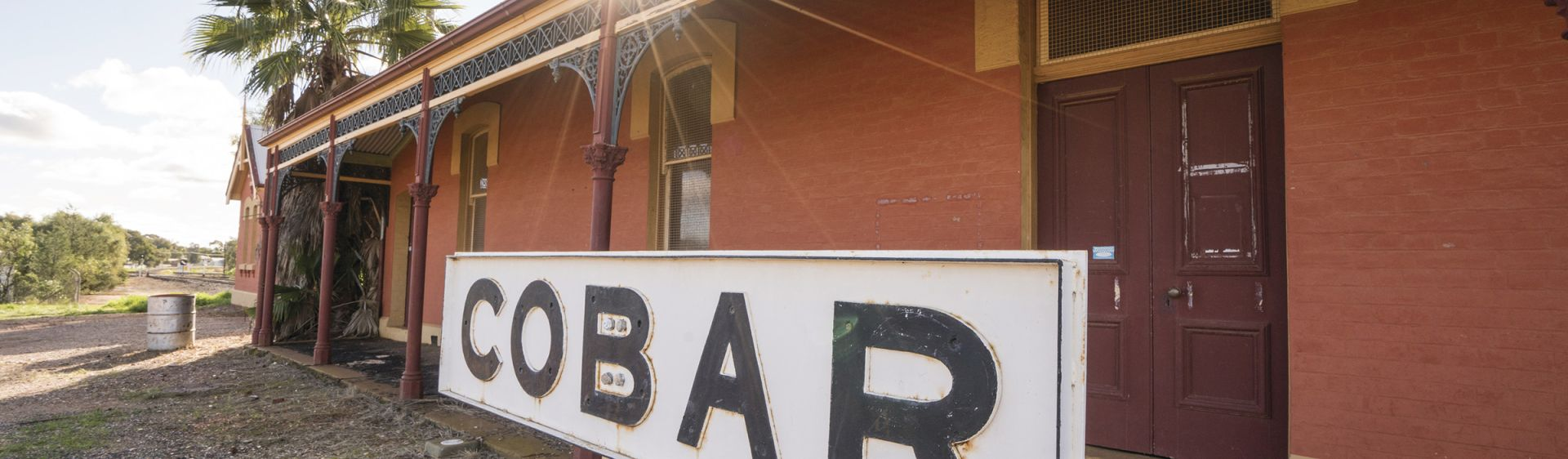The historic Cobar Railway Station located at the end of a branch line to serve the mining activity in Cobar Area