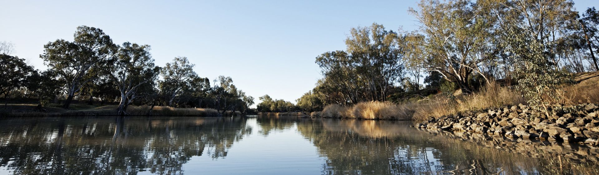 The Barwon River, home to the traditional Aboriginal fish traps in Brewarrina