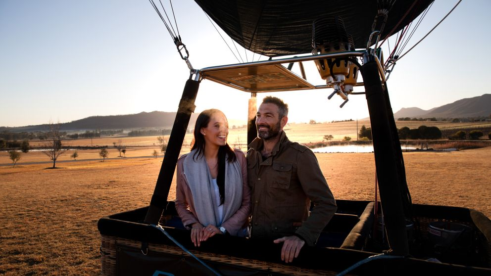 Couple ready for take off in the Hunter Valley