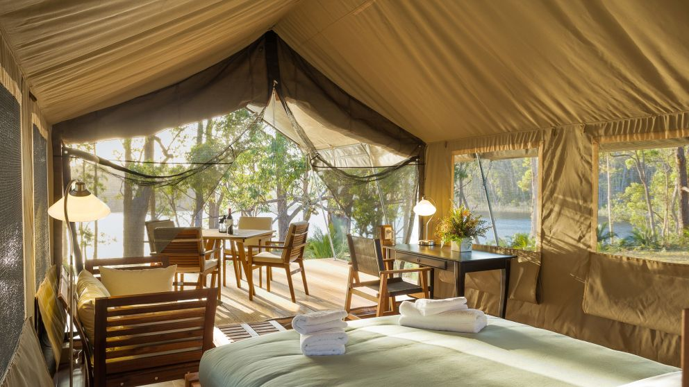A luxurious safari tent at Tanja Lagoon Camp, Sapphire Coast
