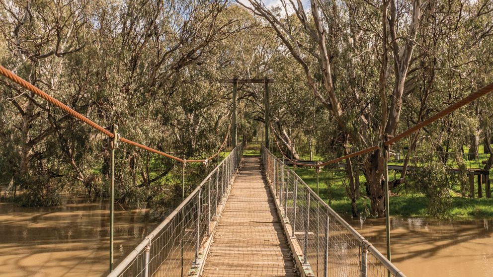 The Swing Bridge over the Lachlan River in Hillston, Riverina, NSW