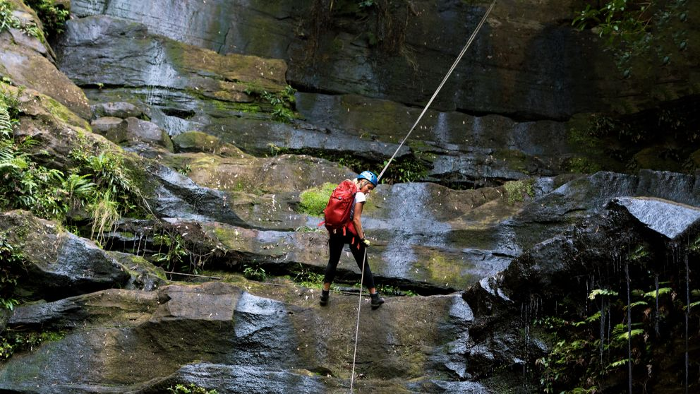 Abseiling Gap Creek Falls, Watagans National Park - Out and About Adventures