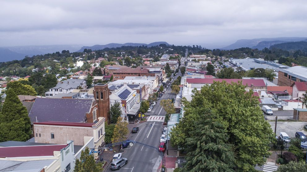 Aerial view of Katoomba Street, Katoomba in the Blue Mountains