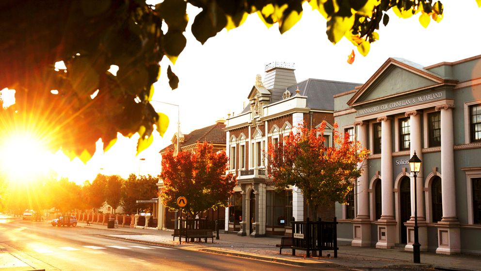 Streetscape at sun set in Mudgee, Country NSW