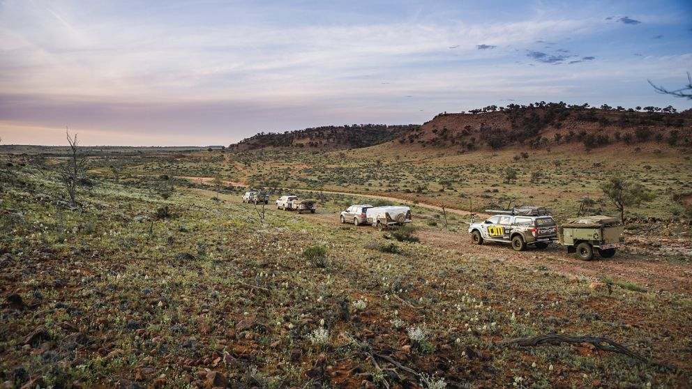 Campers heading through the Outback in Far West NSW