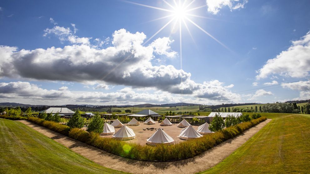 Glamping tents set up at Mayfield Garden, Oberon