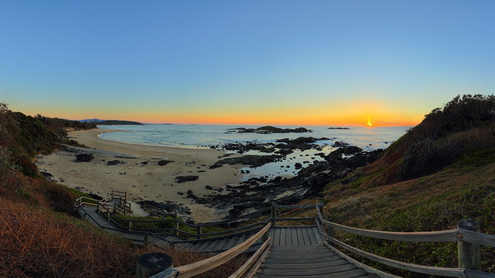 A sunrise in the town of Sawtell in Coffs Harbour, North Coast