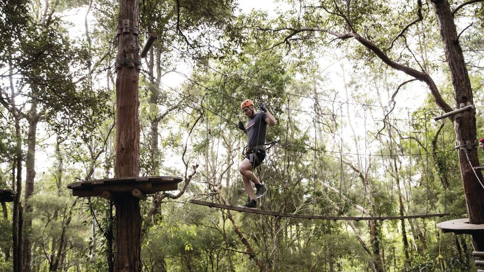 Man enjoying a day out at the TreeTops Central Coast attraction in Wyong Creek
