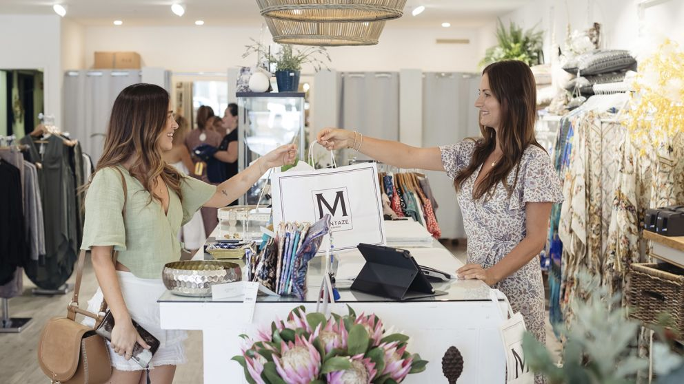 Women shopping for fashion and homeware items at the Montaze Fountain Plaza store in Erina
