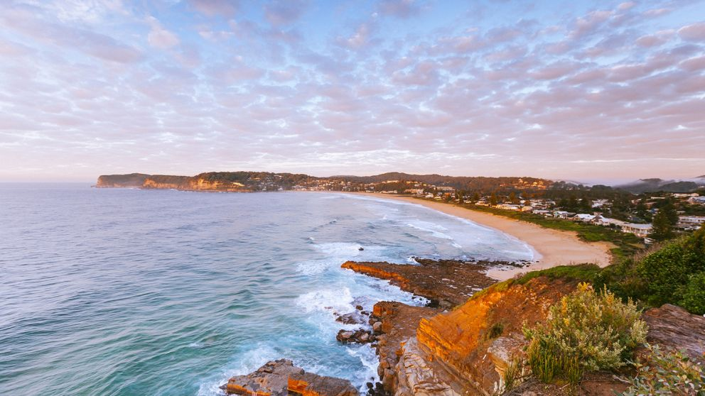 Scenic views over North Avoca beach on the Central Coast