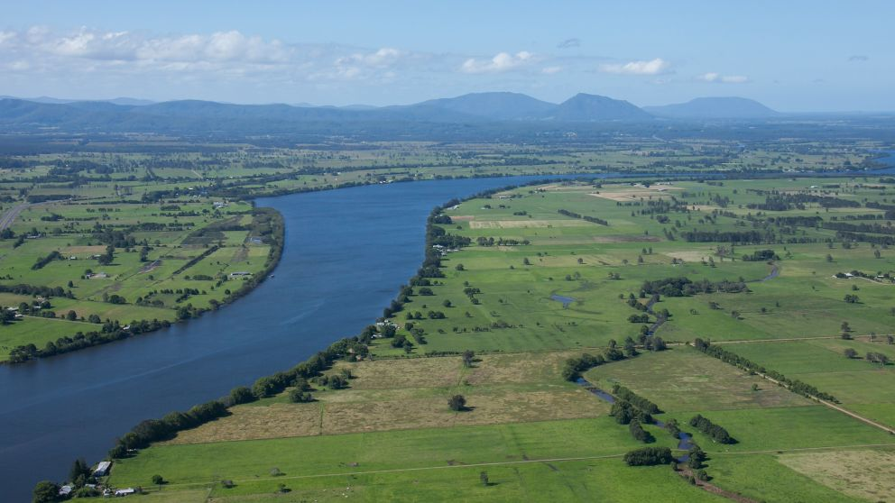 Manning River passing through the scenic countryside in Cundletown, near Taree
