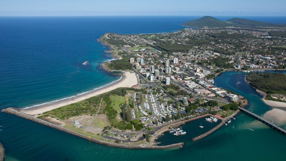 Coastal aerial of the coastal town of Forster, North Coast