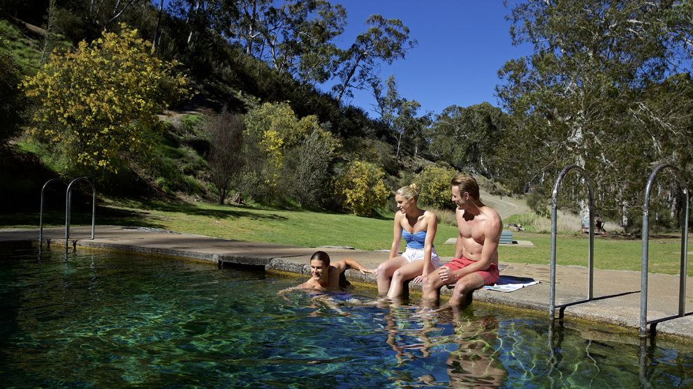Friends enjoying a swim at the thermal pools near Yarrangobilly Caves in Kosciuszko National Park