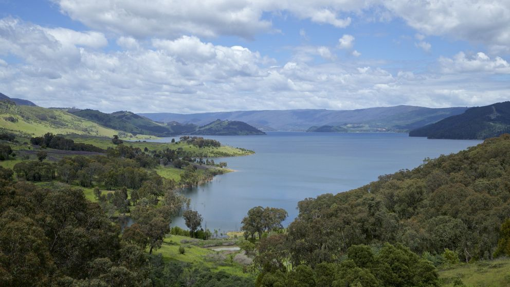 Scenic views of Lake Jindabyne in the Snowy Mountains