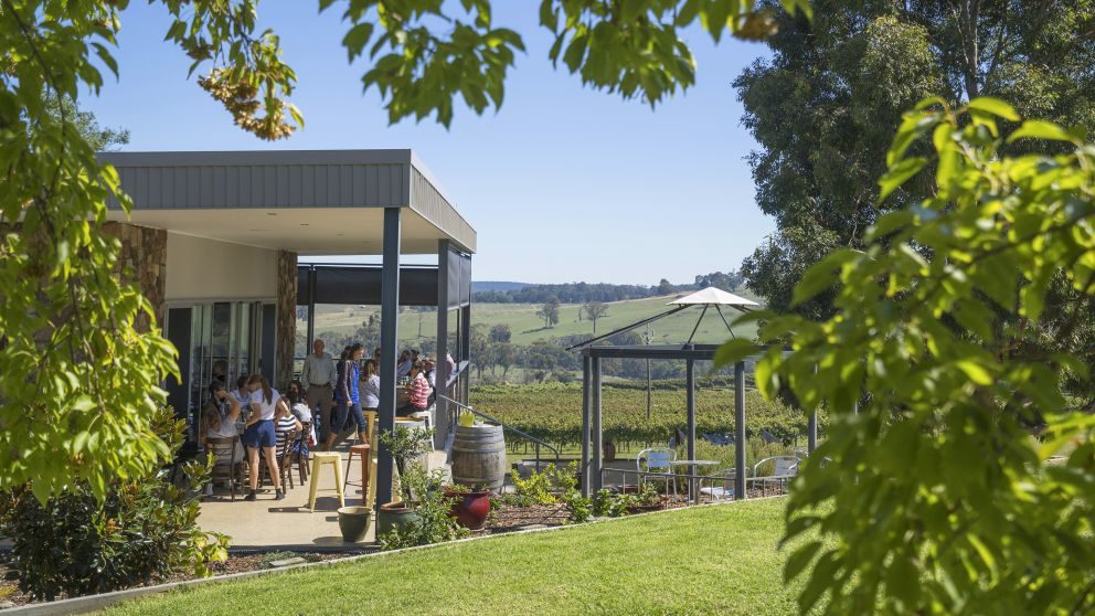 Patrons enjoying food and wine at Courabyra Wines, Tumbarumba with scenic views over the vineyards