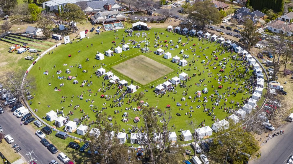 Aerial view overlooking the Southern Highlands Food and Wine Festival at Bradman Oval, Bowral