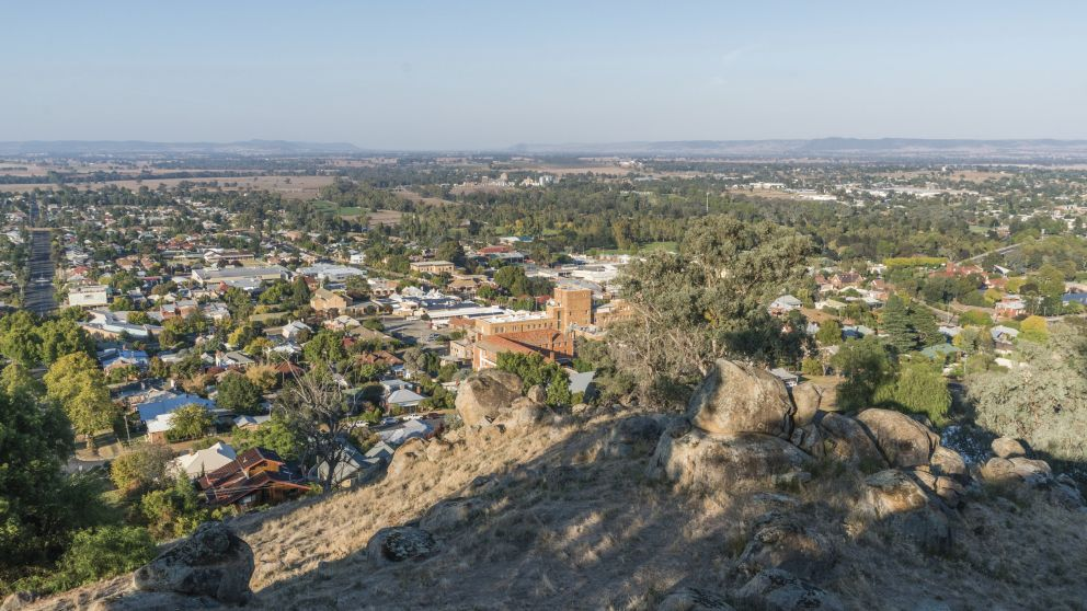 Scenic views overlooking the Cowra township from Bellevue Hill Lookout in Cowra, Country NSW