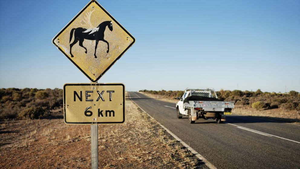 Sign along a country road near Menindee in Outback NSW