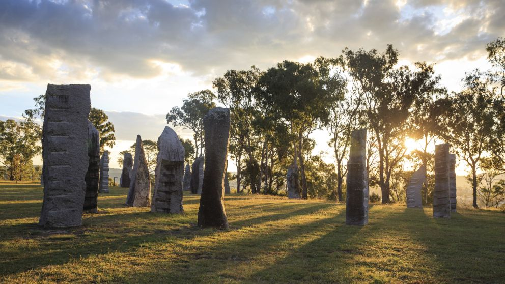 Sun shining over the Australian Standing Stones in Glen Innes, Country NSW