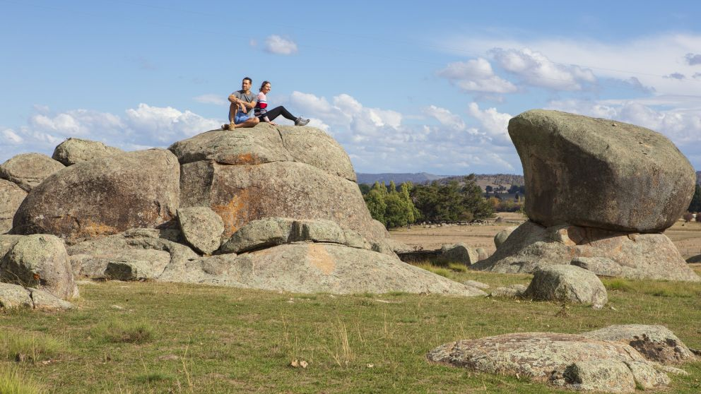 Couple enjoying a visit to the Australian Standing Stones in Glen Innes, Country NSW