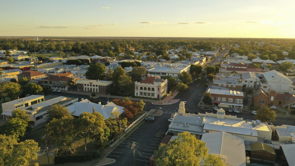 Aerial overlooking the town of Moree in Moree and Narrabri Area, Country NSW