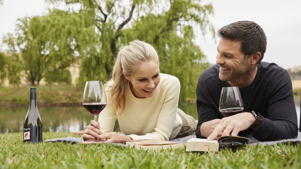 Couple enjoying a romantic getaway at Bendooley Estate, Berrima